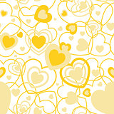 Yellow Heart shape seamless background. Template valentine greeting card