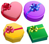 Set gift box with ribbon and bow