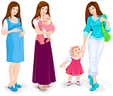Young pregnant woman. Mother and toddler walking. Young mother and little child.