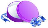 Purple Round open gift box