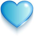Transparent blue valentine heart on white background