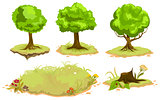 Set of deciduous trees