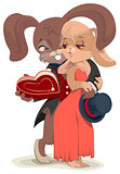 Valentines Day card. Rabbit embracing his beloved. Love gives his girlfriend jewelry