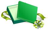 Green open gift box