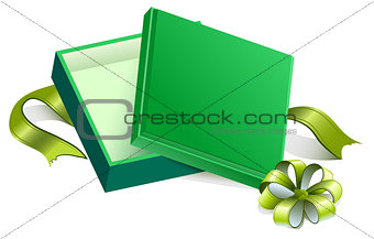 Green open gift box