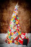 Handmade Button and Pin Christmas Tree