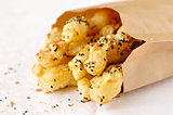 Puff pastry sticks with sesame seeds
