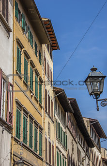 Houses with blinds in the old center of Florence