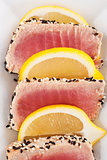 Tuna steak with sesame seeds.