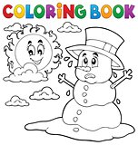 Coloring book melting snowman 1