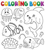 Coloring book ocean fauna topic 1