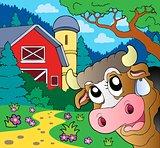 Farm theme with lurking cow