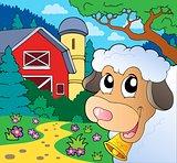 Farm theme with lurking sheep