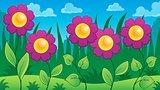 Flowers on meadow theme 7