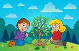 Kids planting tree theme image 3