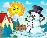 Melting snowman theme image 2