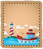 Parchment with boat and lighthouse