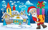 Santa Claus with gifts in winter scenery