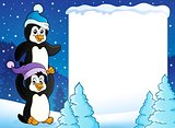 Snowy frame with penguins