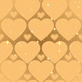 Golden heart shape. Abstract seamless background
