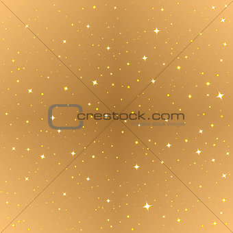 Abstract gold seamless background. Golden starry sky