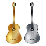 Gold and silver acoustic guitar