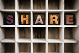 Share Concept Wooden Letterpress Type in Drawer
