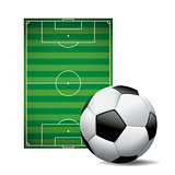 Soccer Ball Football and Field Isolated Illustration