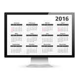 Computer with 2016 Calendar