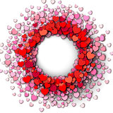 Red hearts round frame