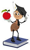 Ant teacher standing on books and holding red apple