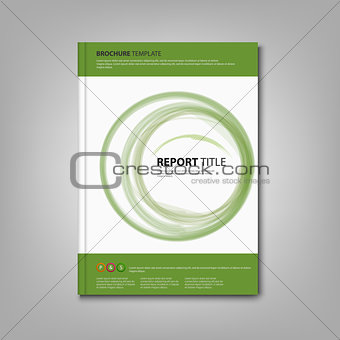 Brochures book or flyer with green abstract circles template