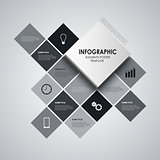 Info graphic with black and white squares template
