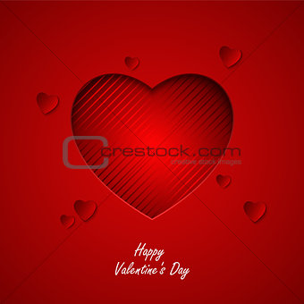 Valentine card with red hearts cut out template