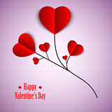 Valentine card with twig and red hearts template