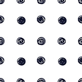 Hand drawn seamless indigo irregular sletchy scribble dot texture