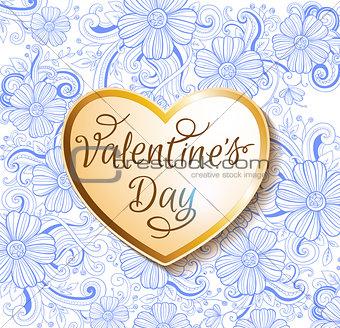 Valentine card with golden heart