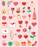 Valentine icons in a flat style