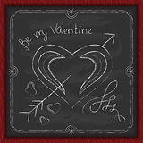 Valentines Day background chalk on a blackboard