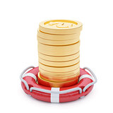 Stack of coins with lifebuoy