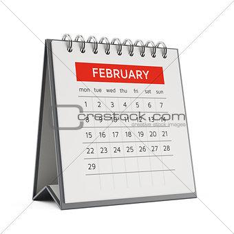 3d february desktop calendar