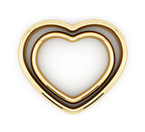 Heart shaped golden rings isolated