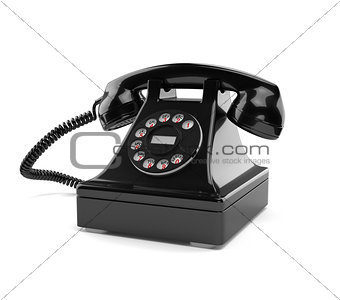Black old-fashioned phone isolated on white
