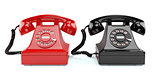 Red and black old-fashioned phones isolated
