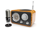 Wooden retro radio with microphone