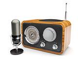 Wooden retro radio with microphone