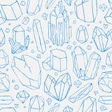 Vector seamless pattern. Hand drawn crystals