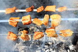 appetizing barbecue on the fire