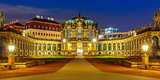 Panorama of Zwinger at night in Dresden, Germany