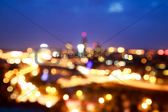 City Lights at Night. Blurred Photo with Bokeh.